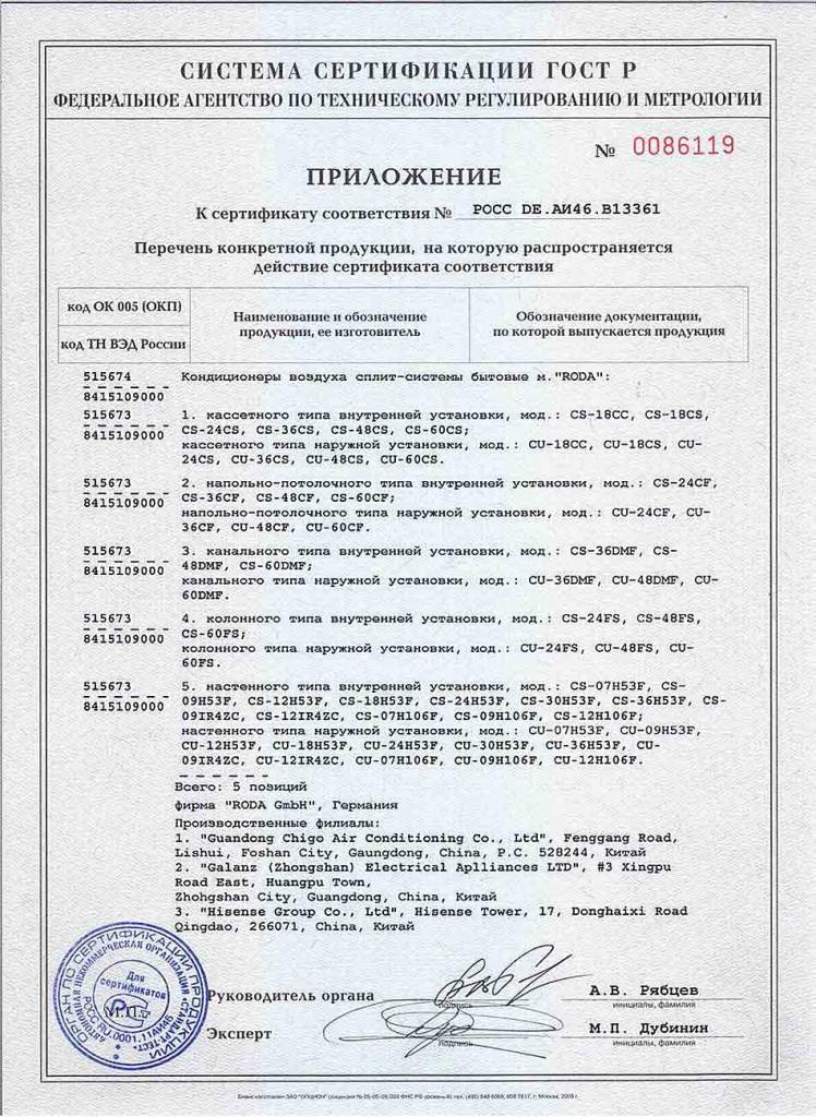 Сертификат. Кондиционеры RODA рис. roda_sert2