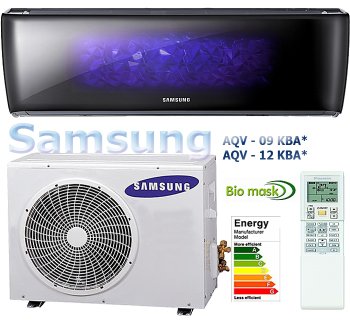 Samsung AQV-09/12 KBA, — the unique and elegant design of the conditioner will decorate any interior.