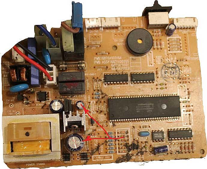 Ёмкость конденсаторов при попадании грязи и влаги уменьшается. Замена конденсатора.