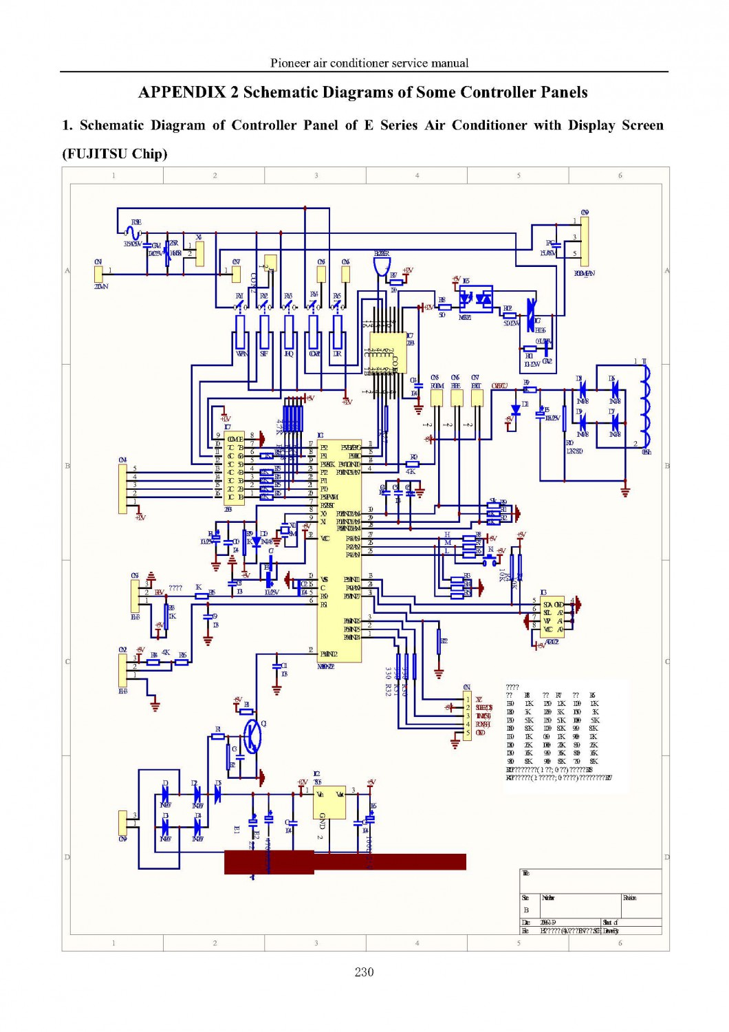 FUJITSU Chip. Schematic Diagram of Controller Panel of E Series Air Conditioner with Display Screen , FUJITSU Chip
