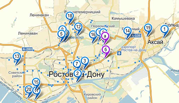 Расположение и контакты организаций Сплиты Ростова